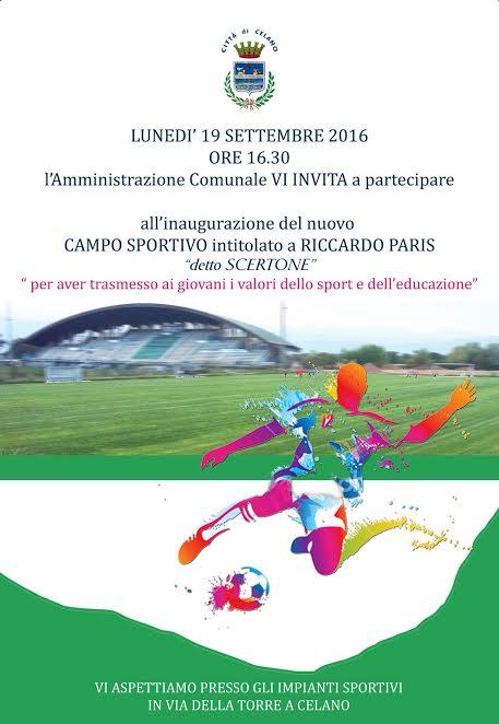 Celano, dedicato a Riccardo Paris il nuovo campo sportivo