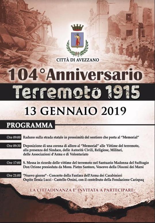 Programma commemorativo per il 104° anniversario del terremoto del 1915