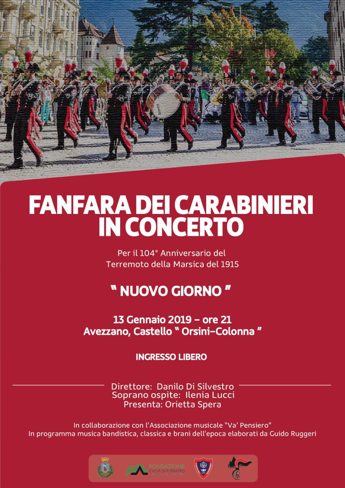 """Concerto """"Nuovo Giorno"""" con la Fanfara dei Carabinieri al Castello Orsini di Avezzano"""