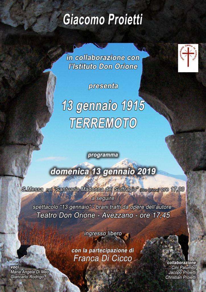 """Spettacolo 13 gennaio Terremoto"""" con Giacomo Proietti"""