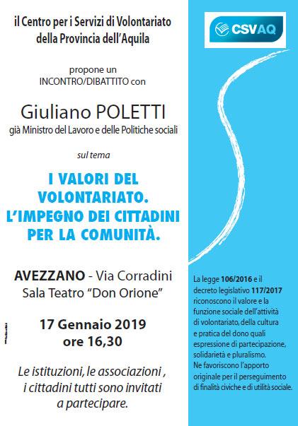 Avezzano, incontro/dibattito con Giuliano Poletti al Don Orione