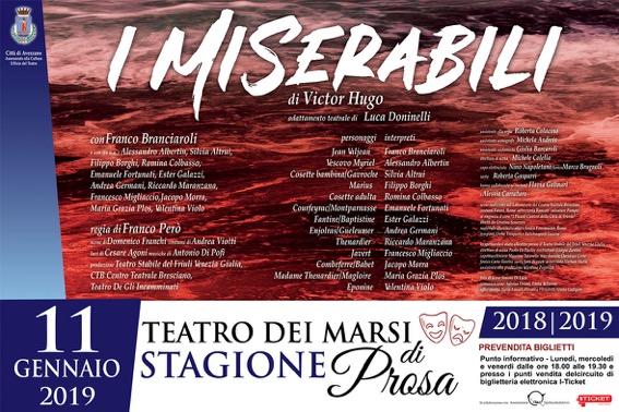 """Torna il grande teatro al Marsi di Avezzano: venerdì 11 gennaio, alle ore 21, in scena """"I Miserabili"""" con Franco Branciaroli"""