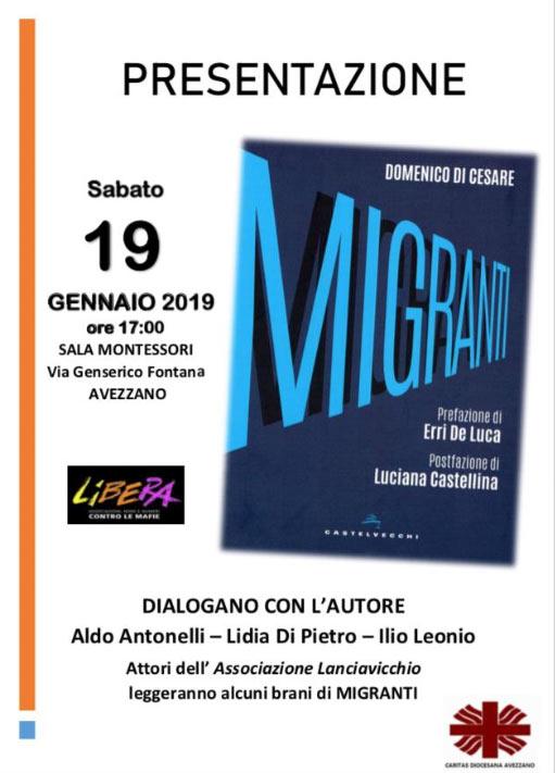 """Lo scrittore Domenico Di Cesare ad Avezzano per raccontare il suo libro """"Migranti"""""""