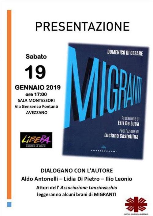 """""""A proposito dei migranti"""" incontro organizzato da Libera Marsica e dalla Caritas Diocesana"""