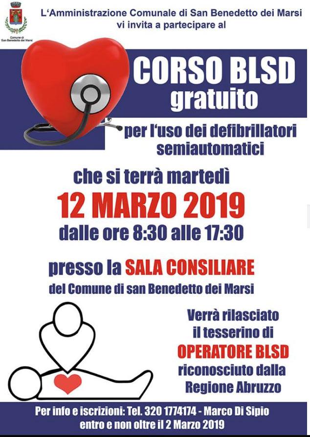 Corso gratuito BLSD a San Benedetto dei Marsi
