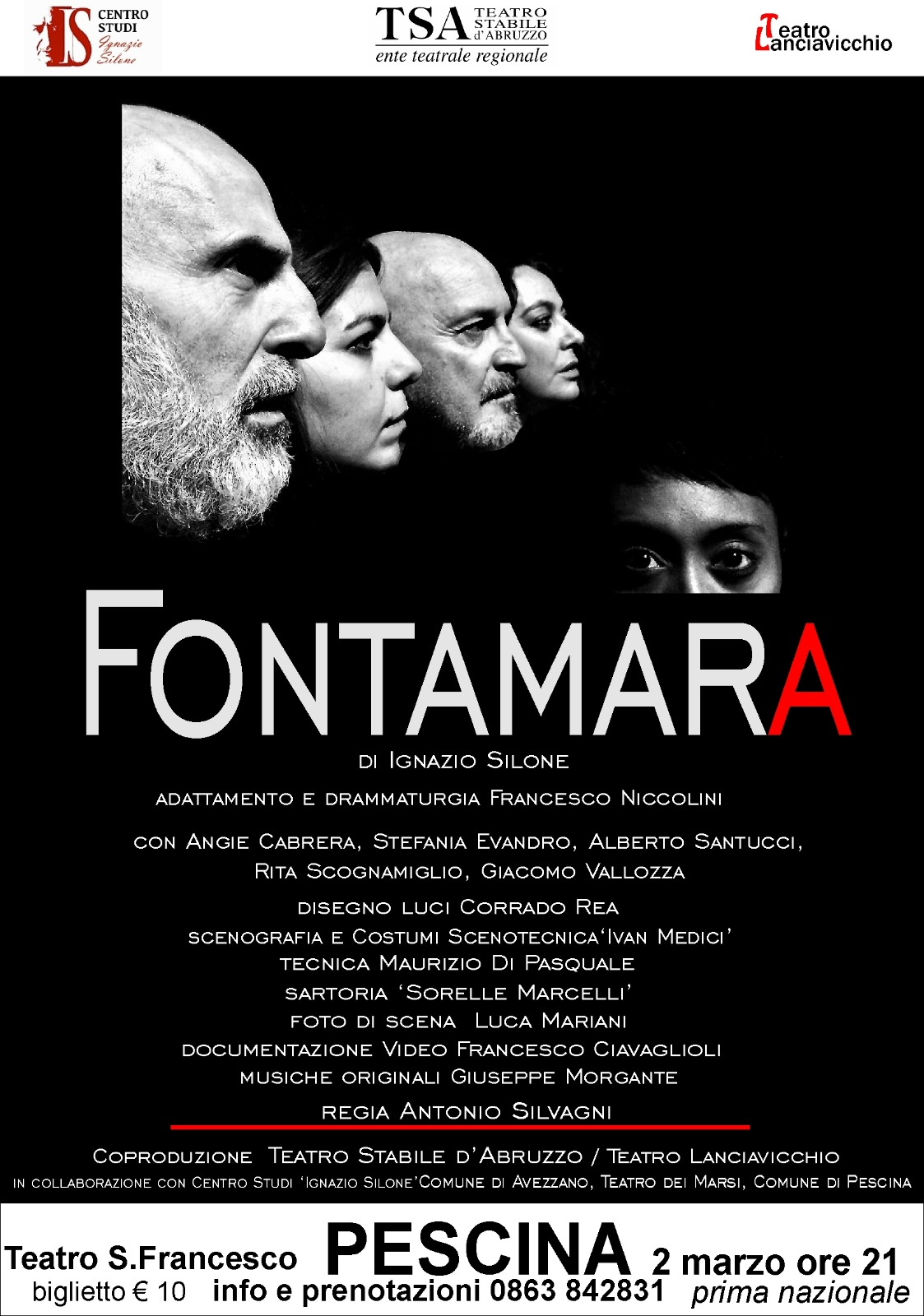 "In prima nazionale ""Fontamara"" di Silone, una grande serata al Teatro San Francesco"