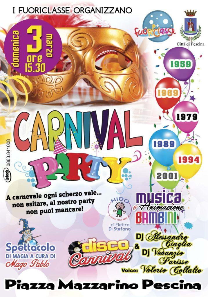 """Pescina """"Carnival Party"""" festa in maschera e spettacolo di magia a cura di Mago Pablo"""