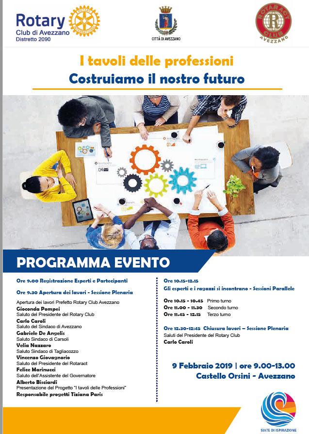 Torna I Tavoli delle Professioni, la giornata di orientamento per gli studenti della Marsica promossa dal Rotary Club Avezzano