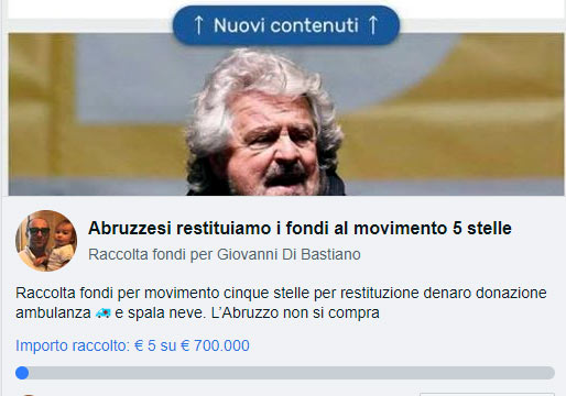 """""""L'Abruzzo non si compra"""", parte dalla Marsica la raccolta fondi per """"risarcire"""" il Movimento 5 Stelle"""