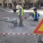 Iniziati i lavori di ripristino dei sampietrini davanti la Cattedrale di Avezzano
