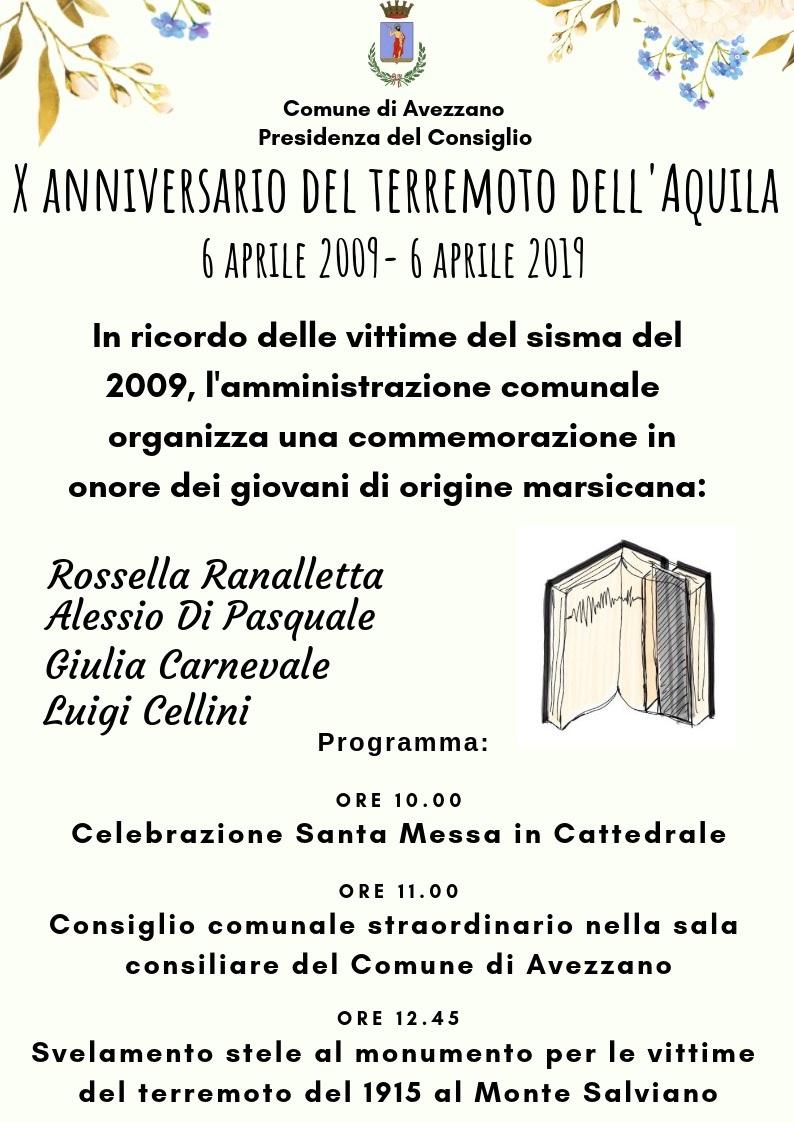 Decennale del terremoto dell'Aquila, una stele in ricordo di 4 giovani marsicani