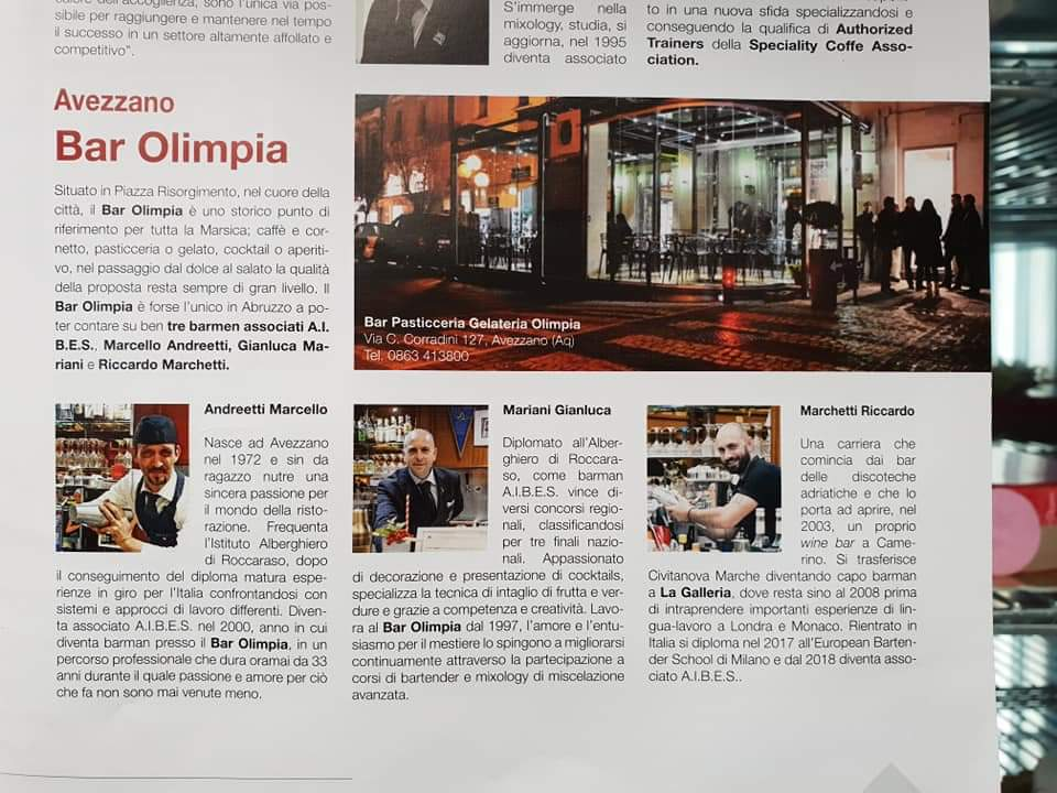 Il bar Olimpia finisce sulla rivista Bar Abruzzo e Molise