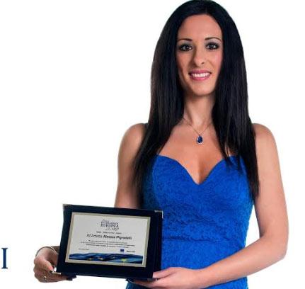 """Il Premio """"Eccellenza Europea delle Arti"""" è stato conferito alla marsicana Alessia Pignatelli"""