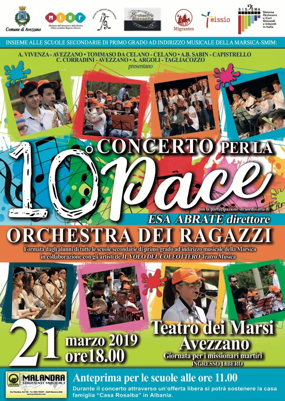 Tutto pronto ad Avezzano per la decima edizione del Concerto Per La Pace