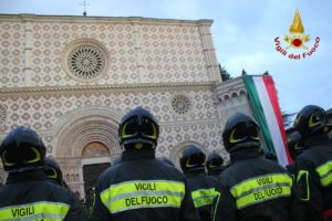 Festeggiamenti all'Aquila per l'anniversario di fondazione del Corpo Nazionale dei Vigili del Fuoco