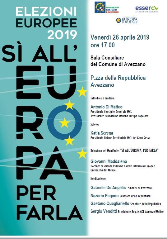 Elezioni Europee 2019, se ne parla ad Avezzano