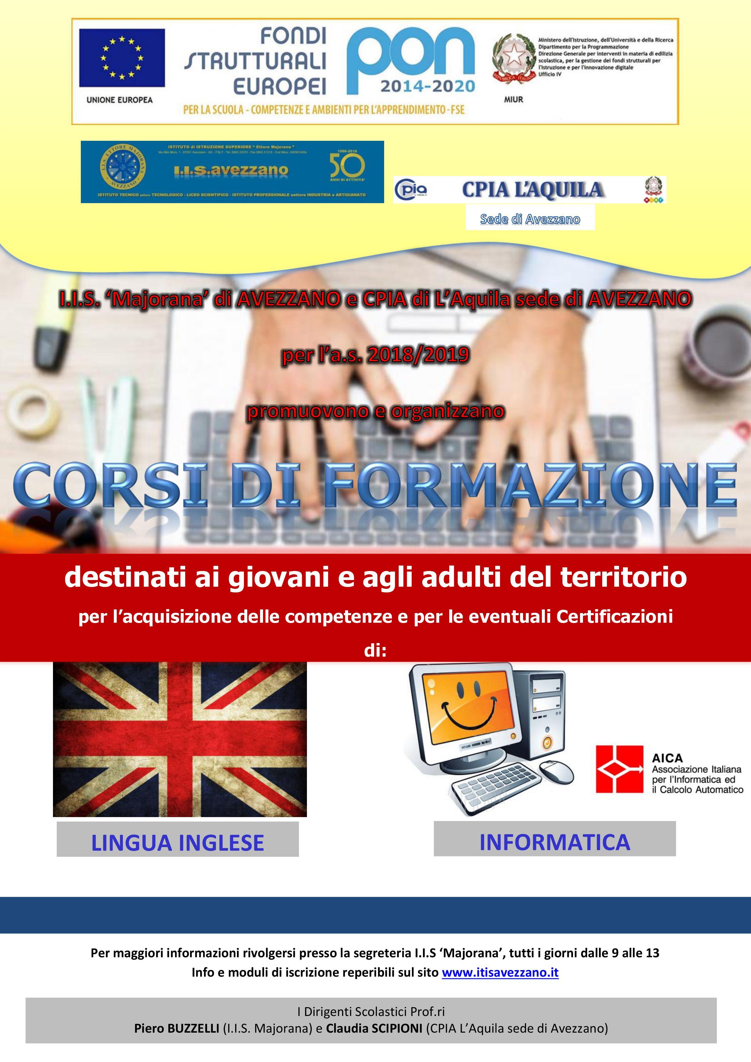 """Al via le iscrizioni ai corsi di Inglese, Informatica e Cittadinanza Attiva all'I.I.S. """"E. Majorana"""" di Avezzano"""