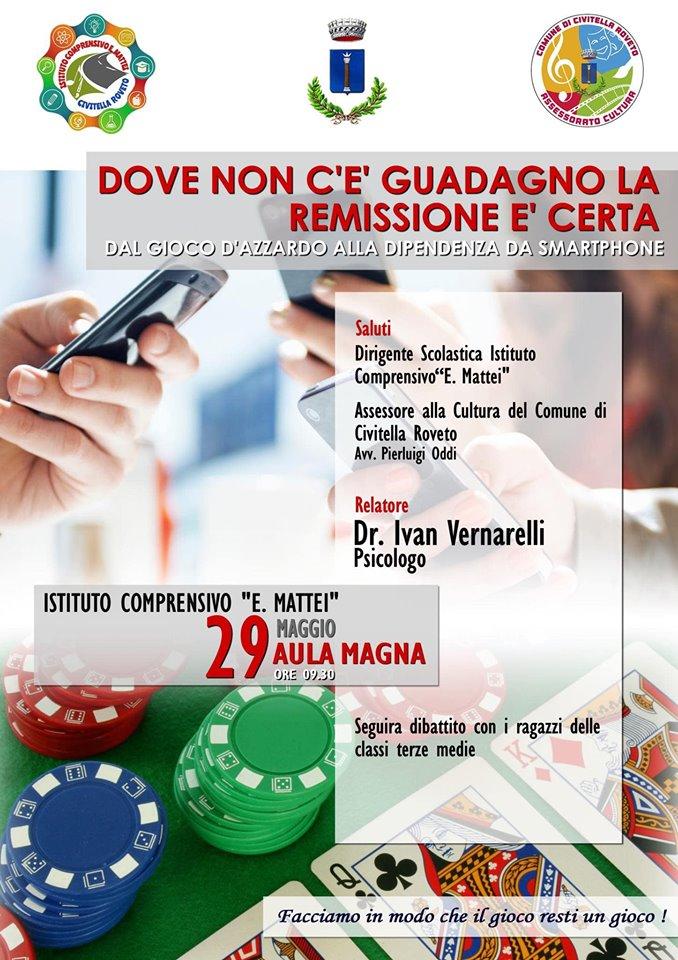 Dal gioco d'azzardo alla dipendenza da smartphone, convegno a Civitella Roveto