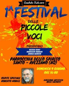 """Ad Avezzano, il I Festival dellePiccole Voci, ideato da AdeleSalvucci. Ospite """"speciale"""" Roberto Nobile"""