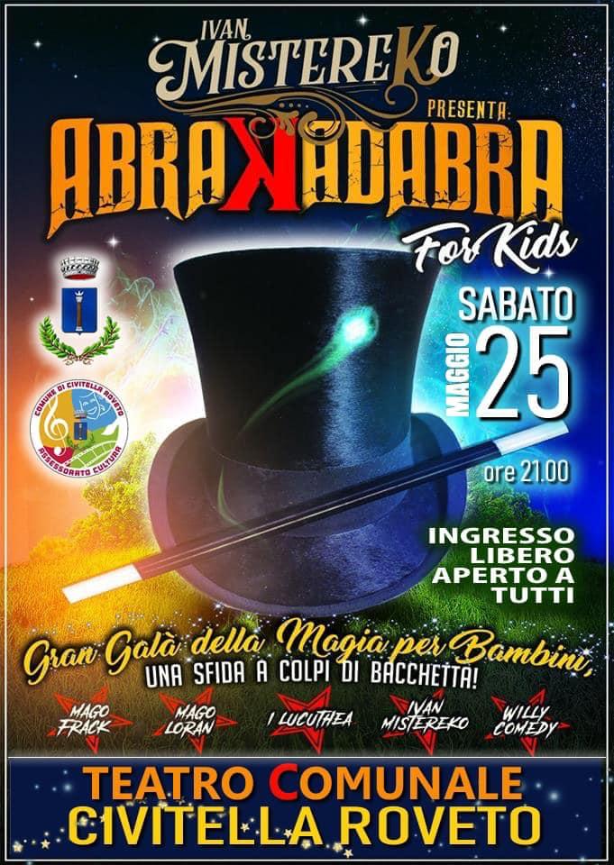 Sabato 25 maggio spettacolo di magia al teatro di Civitella Roveto