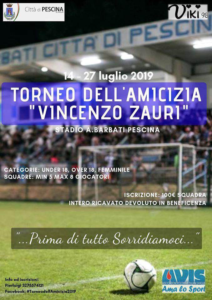 Pescina, sesta edizione del Torneo dell'amicizia in memoria di Vincenzo Zauri