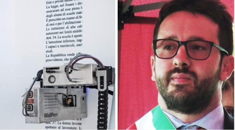"""Aielli Di Natale """"Epica sfida, scrivere l'intera Costituzione Italiana su un muro"""""""