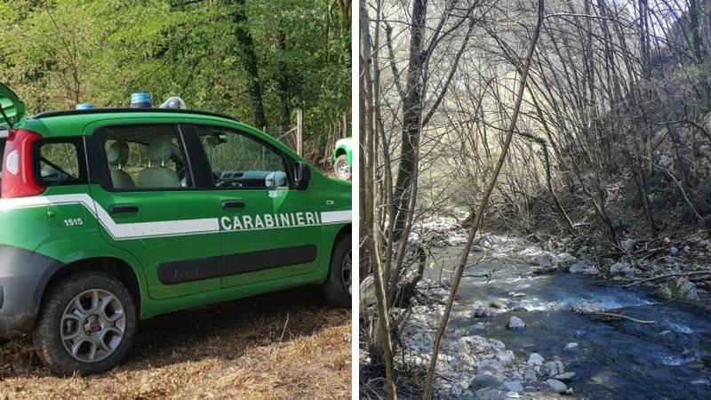 Carabinieri Forestali controllano gli scarichi che si riversano nel fiume Giovenco