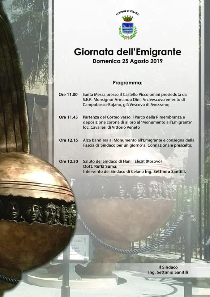 """Celano celebra la giornata dell'Emigrante con """"La fascia da Sindaco per un giorno"""" all'ambasciatore d'Abruzzo Eligio Paris"""