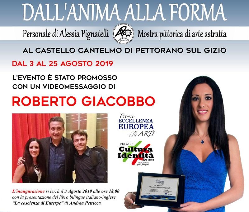 """""""Dall'anima alla forma"""" personale pittorica di Alessia Pignatelli, evento promosso da Roberto Giacobbo"""