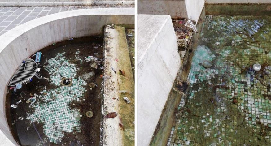 Grave degrado della Fontana del Liceo Classico in via Marconi ad Avezzano