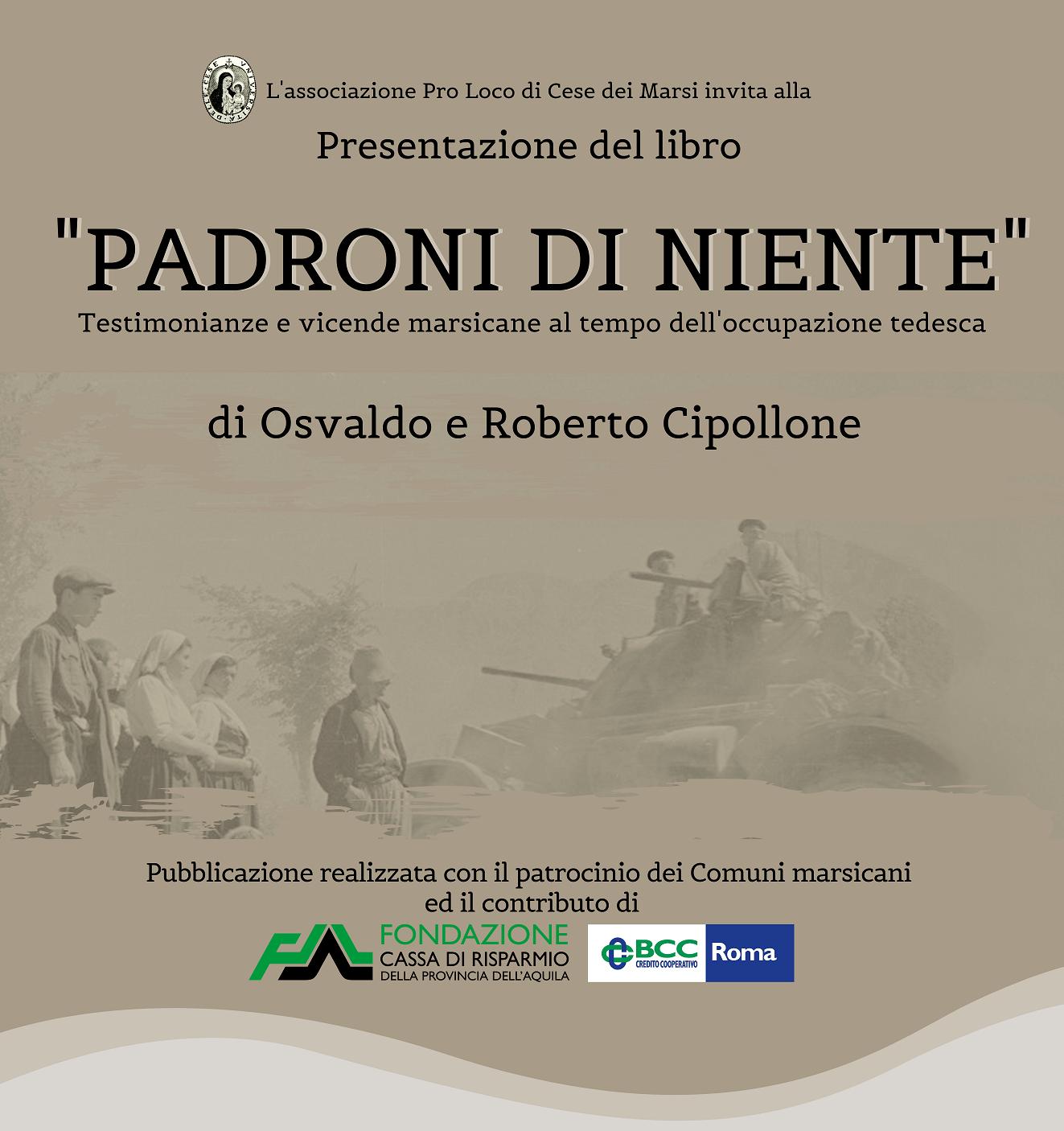 Sarà presentato a Cese, Capistrello e Tagliacozzo il libro di Osvaldo e Roberto Cipollone sull'occupazione tedesca nella Marsica