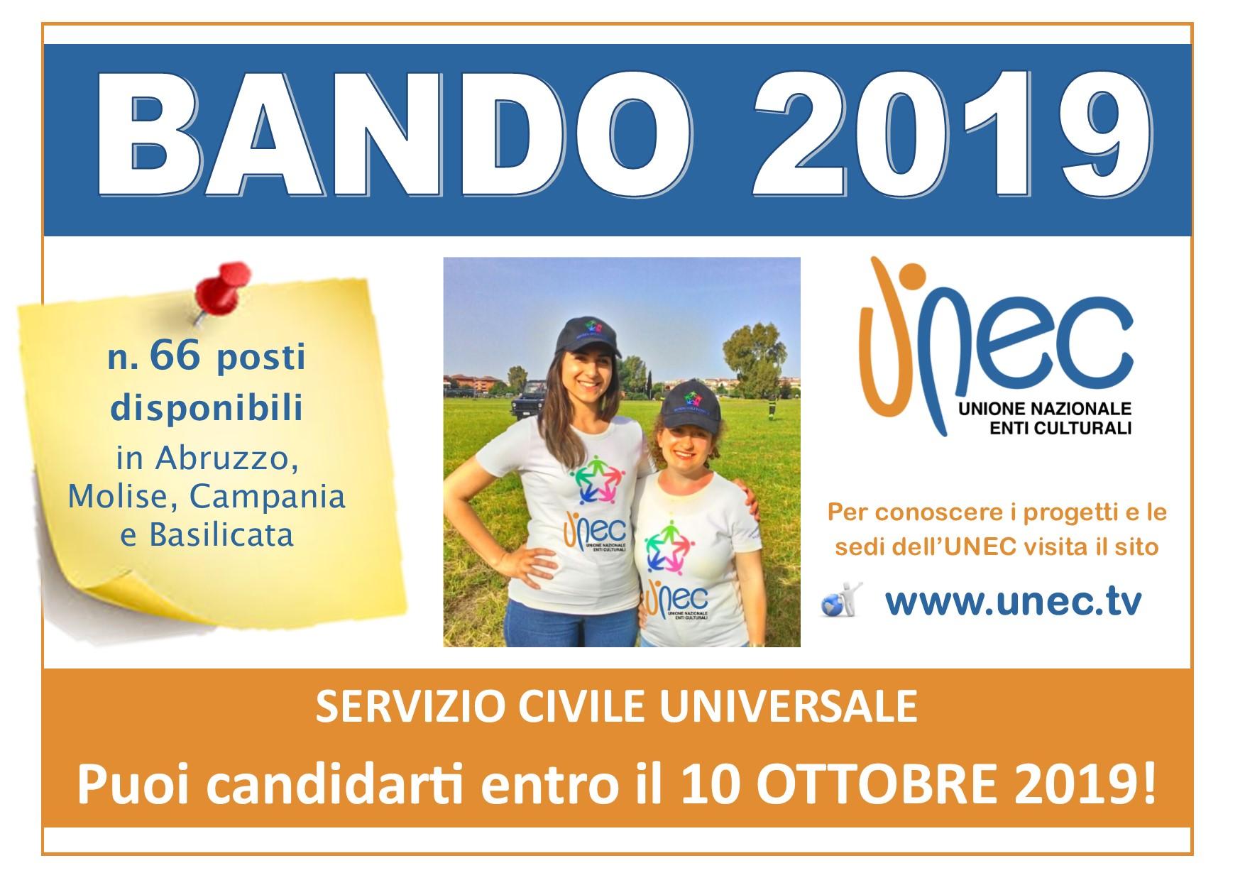 Servizio Civile Universale, sono 66 Posti i disponibili con l'UNEC