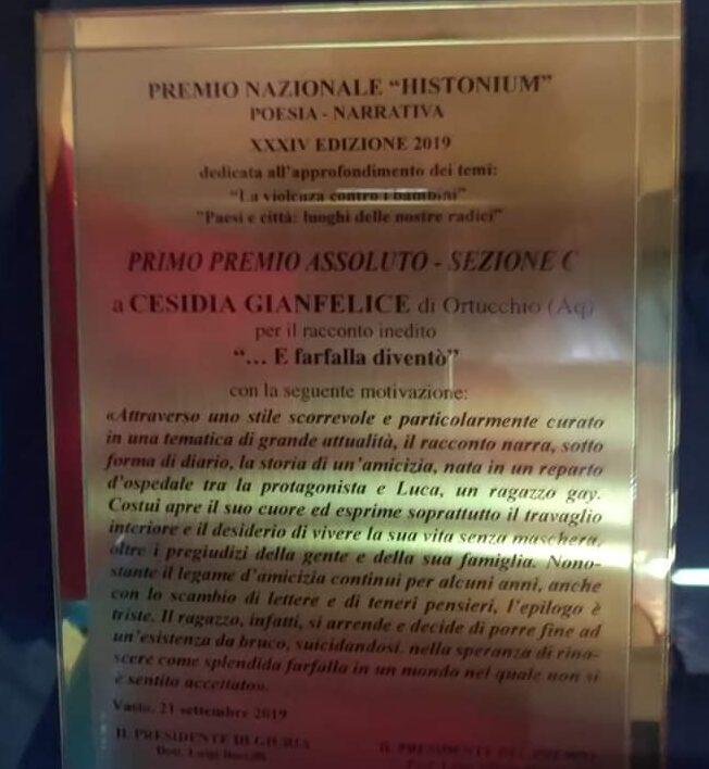 """Il premio """"Histonium D'Oro"""" alla scrittrice marsicana Cesidia Gianfelice"""