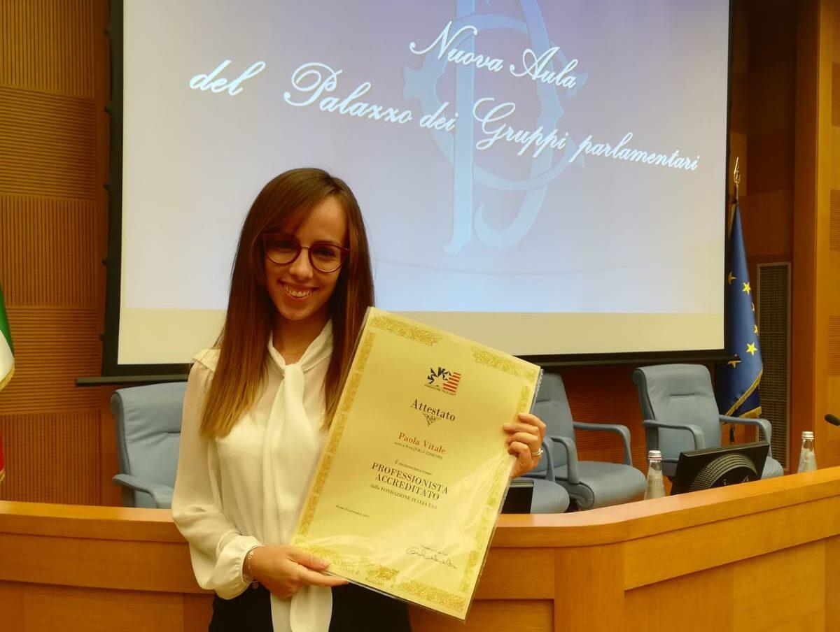 La marsicana Paola Vitale premiata alla Camera dei Deputati