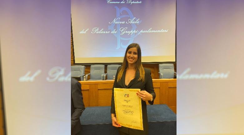 Studentessa avezzanese premiata alla Camera dei Deputati