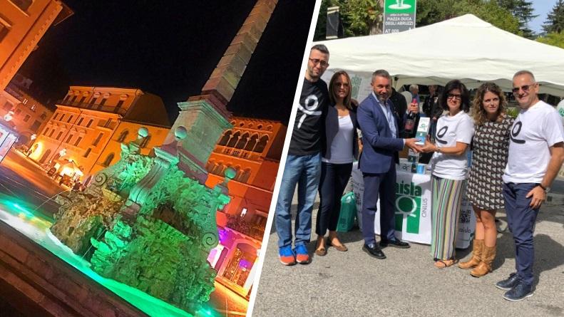 Tagliacozzo, illuminato di verde l'Obelisco per sostenere la lotta contro la Sla
