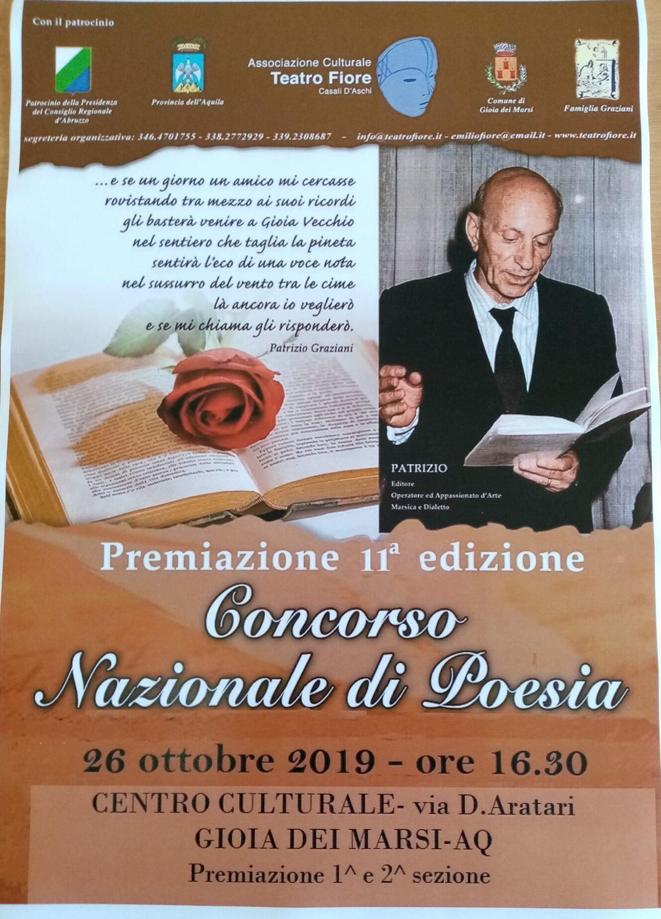 Tutto pronto per la premiazione del Premio Nazionale di Poesia dedicato a Patrizio Graziani