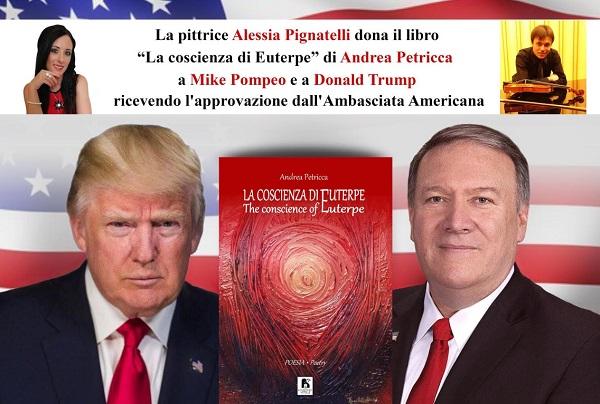 """L'Artista Alessia Pignatelli fa esportare il libro """"La coscienza di Euterpe"""" di Andrea Petricca nella Casa Bianca"""