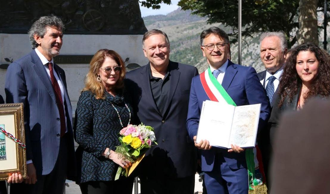 Marsilio ha accolto il Segretario di Stato Usa Mike Pompeo a Pacentro