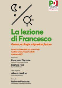 La lezione di Francesco, lunedì ad Avezzano l'iniziativa del Pd Abruzzo