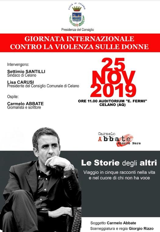 Giornta internazionale contro la violenza sulle donne a Celano con il giornalista Carmelo Abbate