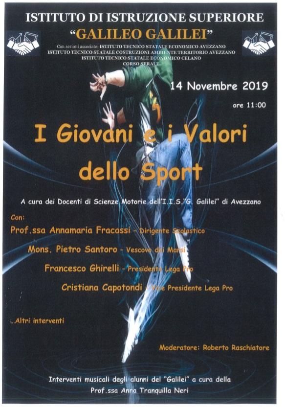 I giovani e i valori dello sport, se ne parla all'Istituto Galileo Galilei di Avezzano