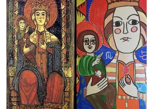 L'artista marsicana Murzilli dipinge in arte moderna la Madonna dell'Oriente del Santuario