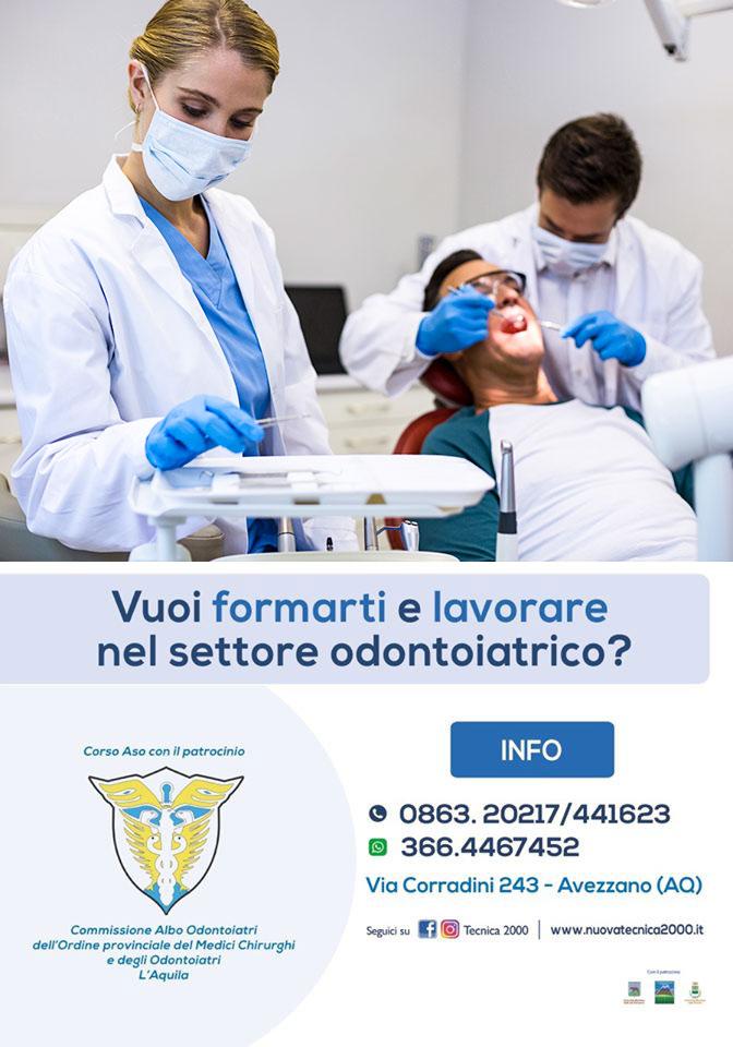In partenza il 29 novembre ad Avezzano il PRIMO CORSO per ASO, Assistente di Studio Odontoiatrico della provincia dell'Aquila