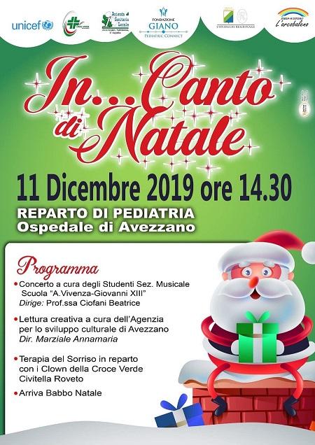 """""""In…Canto di Natale"""" nel reparto di pediatria dell'Ospedale di Avezzano"""