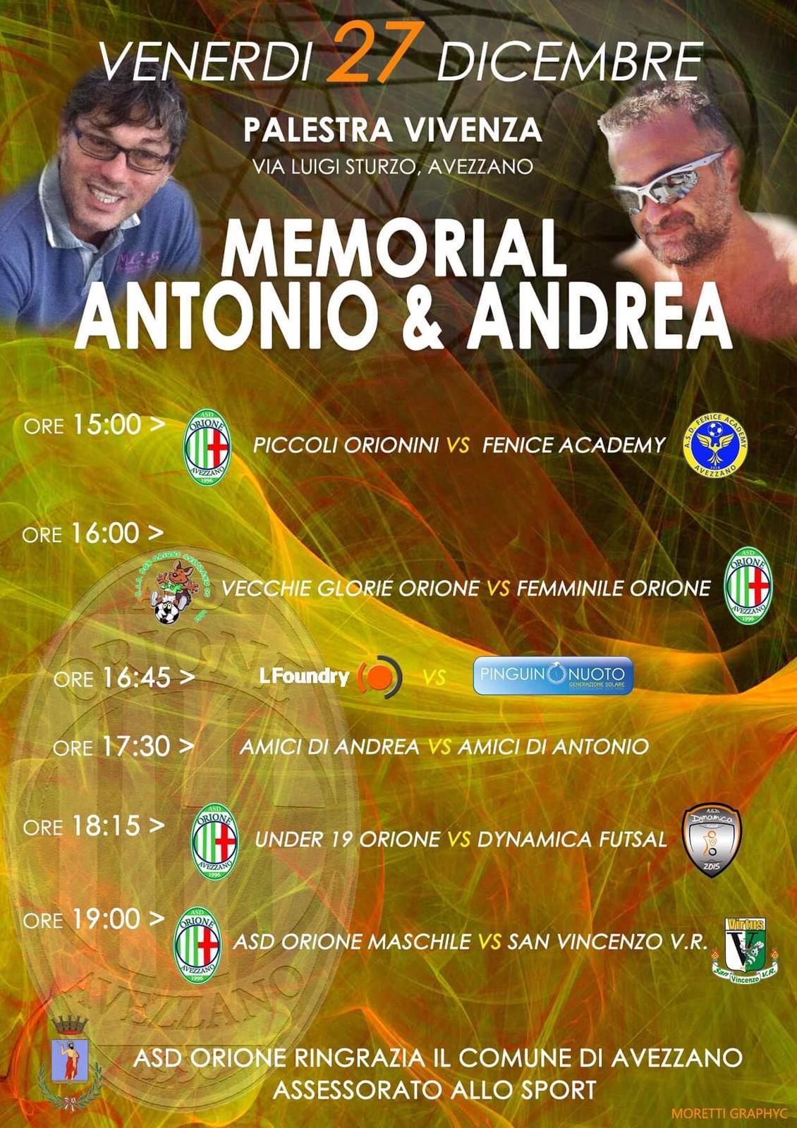 Memorial Antonio e Andrea presso la palestra Vivenza