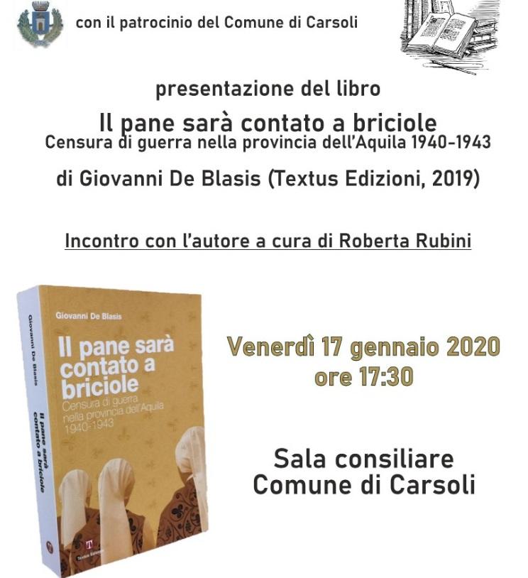 """Presentazione del libro """"Il pane sarà contato a briciole"""" di Giovanni De Blasis"""