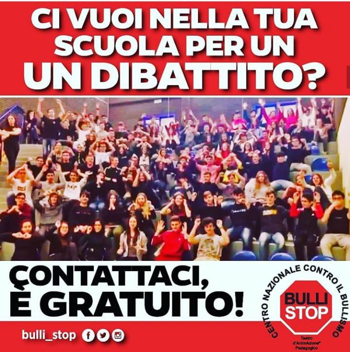 """Centro Nazionale Contro il Bullismo """"Bulli Stop"""", agisce direttamente nelle scuole, incontra gratuitamente gli studenti"""