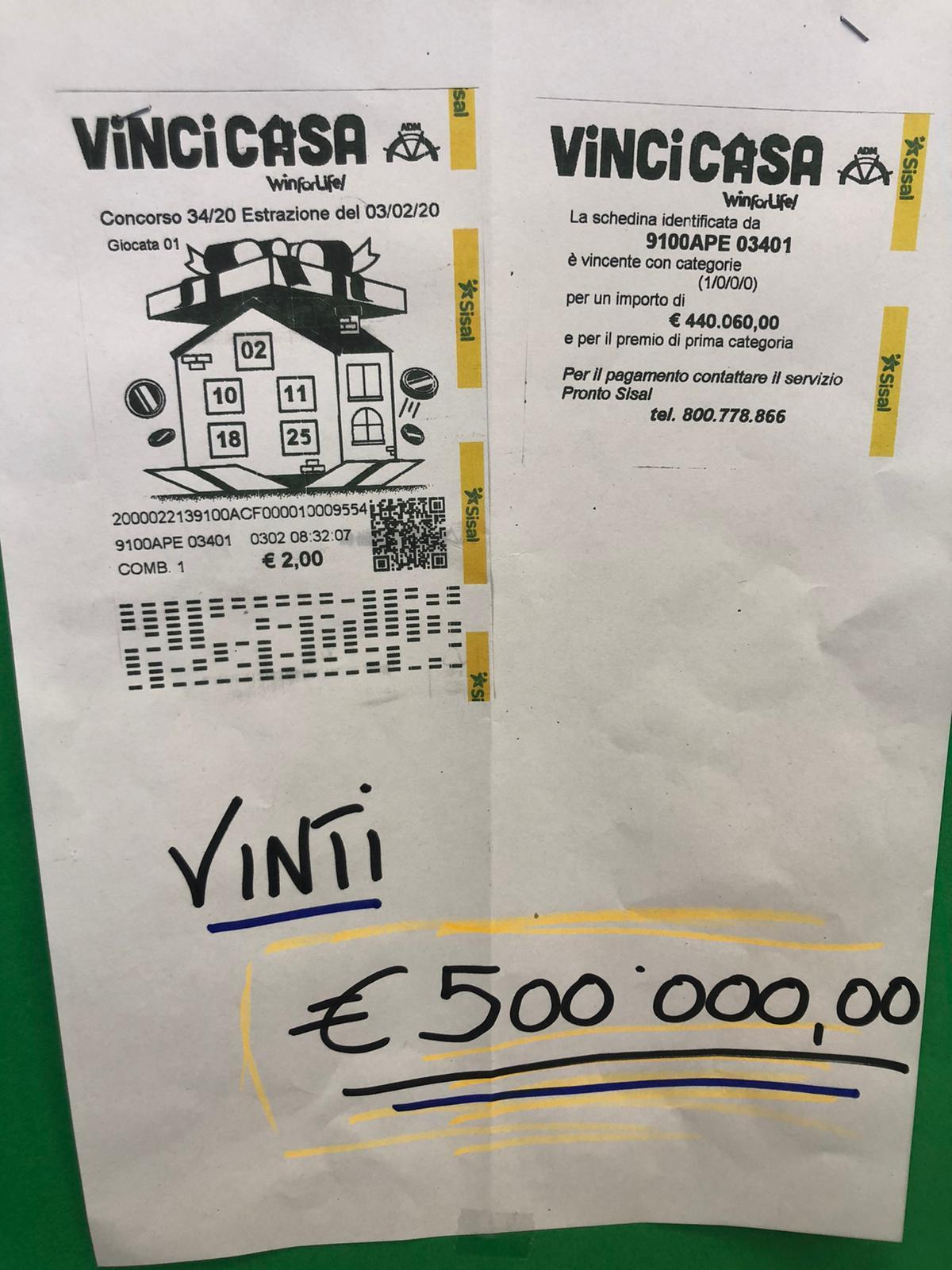 """La fortuna torna a baciare la città di Avezzano, vinti 500 mila euro al """"Vinci Casa"""""""