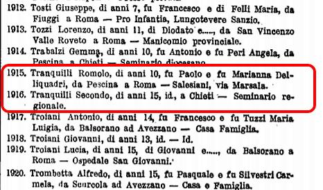 Nomi di Secondo e Romolo nell'elenco degli orfani